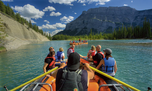 Enjoy a float trip along the Bow River in Banff National Park during summer in Canada