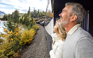 Rocky Mountaineer onboard platform viewing GoldLeaf