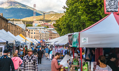 Visit the weekly Salamanca Markets when in Hobart, Tasmania