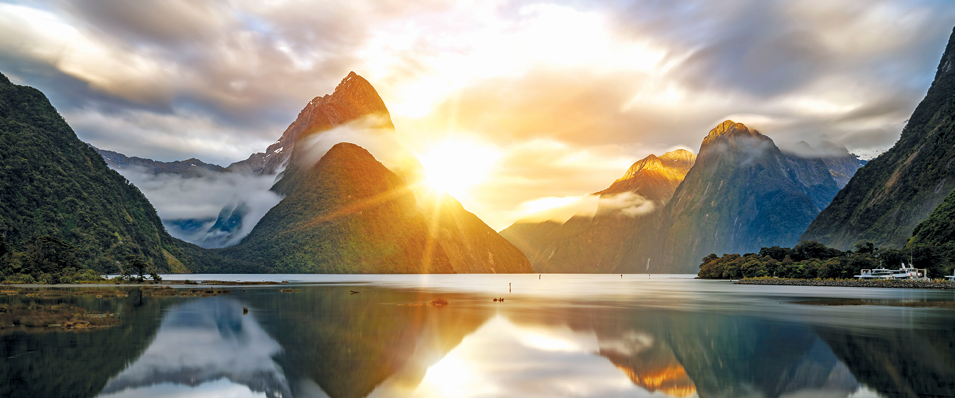 Milford Sound, New Zealand sunrise and sunset